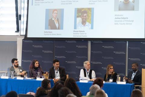 Equity in International Climate Negotiations Panel. Left to Right: Josh Galperin (Moderator), Manjeet Dhakal, Susan Biniaz, Caroline Prolo and Elkanah Babunte