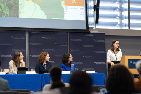 Comparative Litigation: Climate Justice in the Courts. Left to Right: Danielle de Andrade Moreira, Dena Adler, Marianne Engelman-Lado (Moderator), Gabriela Eslava (Podium)
