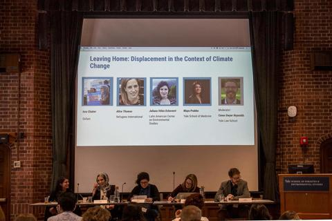 Left to Right: Maya Prabhu, Isra Chaker, Juliana Velez, Alice Thomas and Conor Reynolds (moderator).